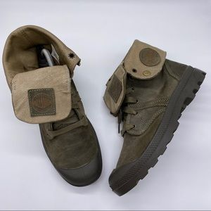 Palladium Baggy Mens Army Green Leather Boots